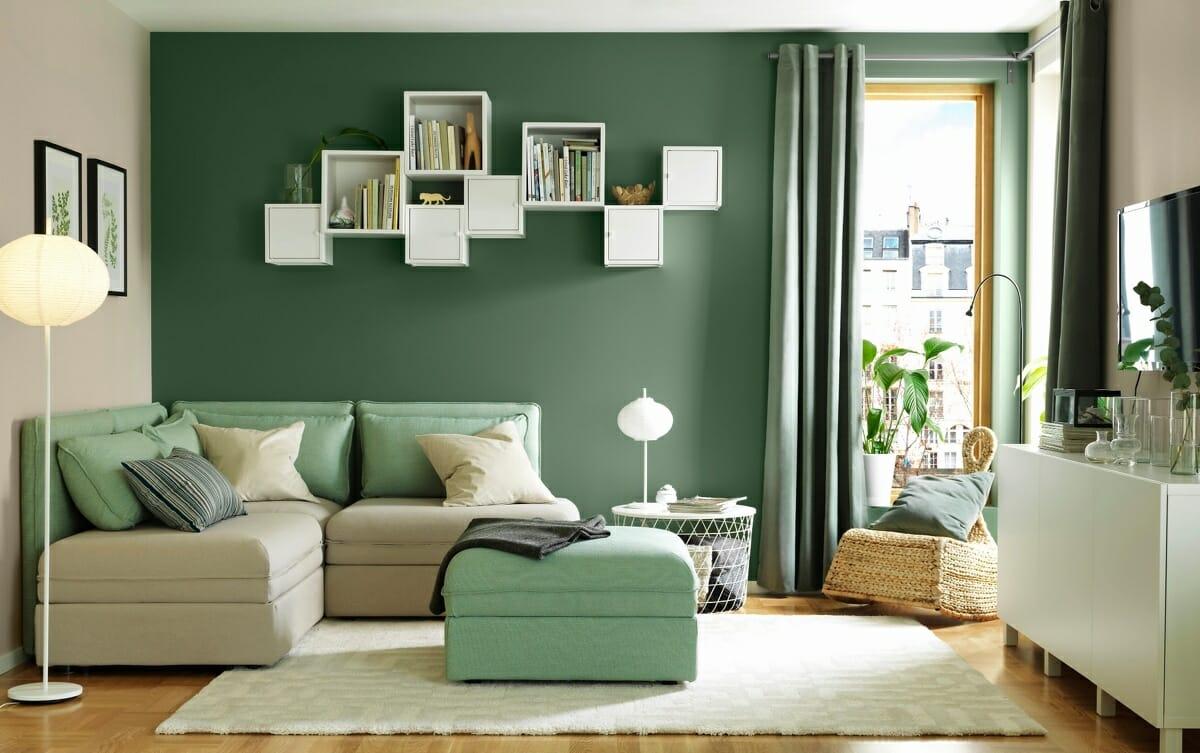 hình ảnh mẫu thiết kế phòng khách nhỏ đẹp, tiện nghi với tông màu xanh bạc hà - trắng kết hợp ăn ý