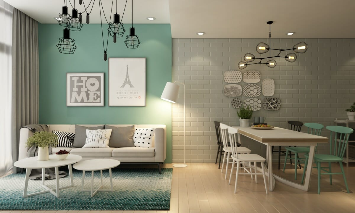 hình ảnh phòng khách màu xanh bạc hà liên thông với phòng ăn nhỏ gọn