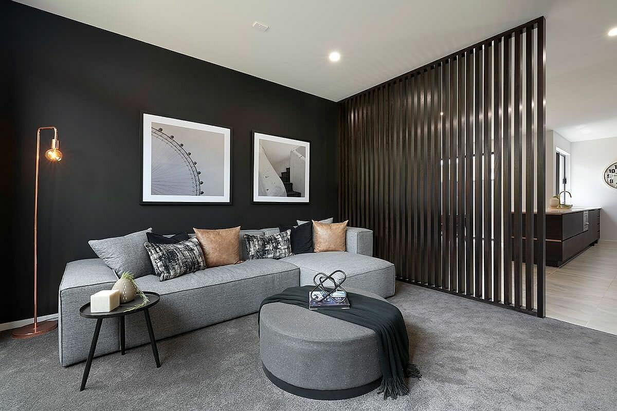 hình ảnh phòng khách màu xám đen ấn tượng