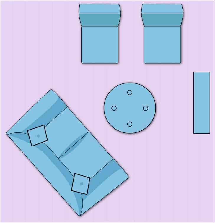 hình ảnh minh họa cho việc bài trí nội thất phòng khách theo đường chéo lạ mắt