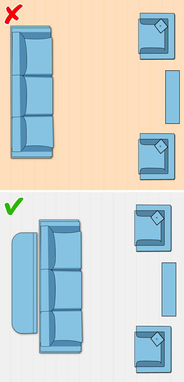 hình ảnh minh họa cho việc kê nội thất phòng khách nhỏ sát tường, không sát tường