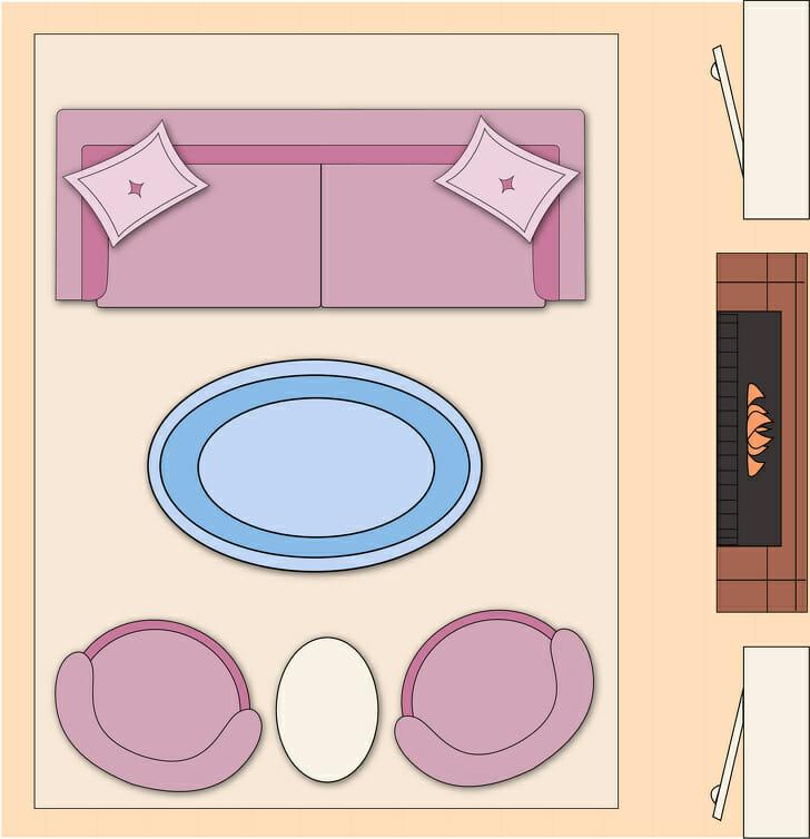 hình ảnh minh họa cho việc bài trí phòng khách theo bố cục cân bằng với bàn cà phê ở giữa, sofa lớn đối diện với 2 sofa nhỏ hoặc 2 ghế bành đặt song song nhau