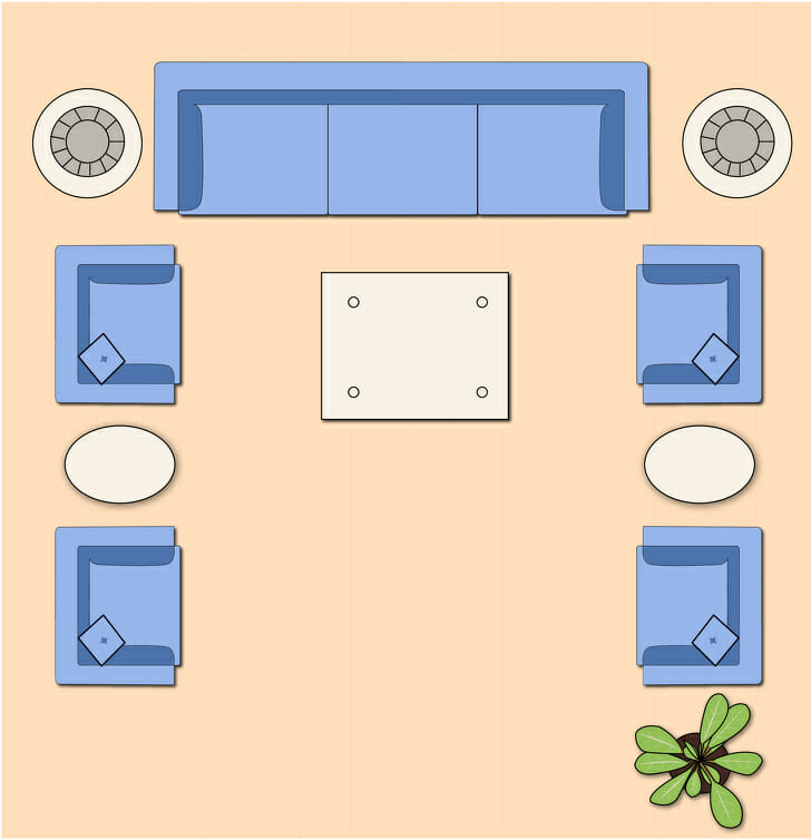 hình ảnh minh họa bài trí phòng khách gồm nhiều bàn nhỏ đặt giữa hai ghế bành hoặc sofa