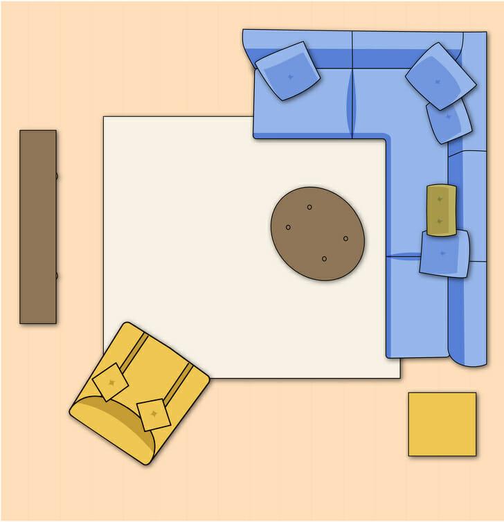 hình ảnh phối cảnh bài trí nội thất phòng khách nhỏ với sofa lớn, ghế bành, bàn trà phụ