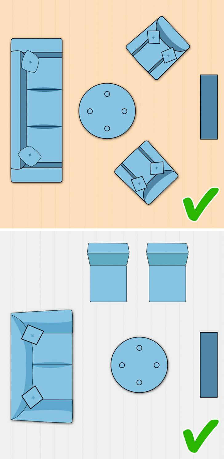 hình ảnh minh họa cho việc bài trí phòng khách nhỏ tiện nghi, gọn đẹp với sofa, ghế bành đều hướng về phía tivi