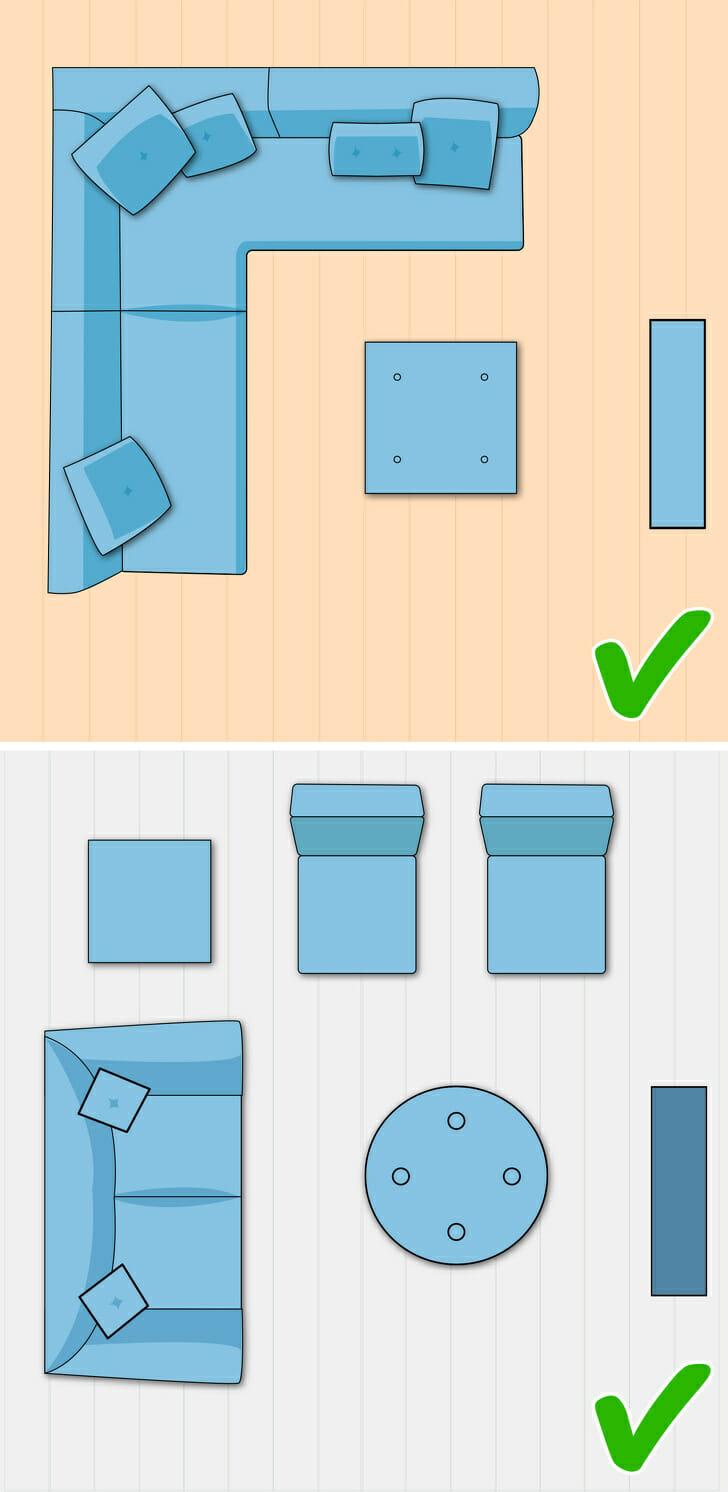 Hình ảnh minh họa cho bố cục phòng khách nhỏ hình chữ L
