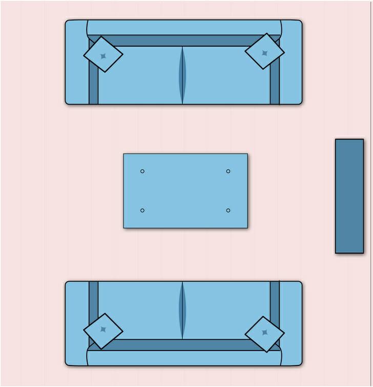 hình ảnh minh họa bài trí phòng khách có lò sưởi, mọi nội thất đều hướng nhìn về phía lò sưởi