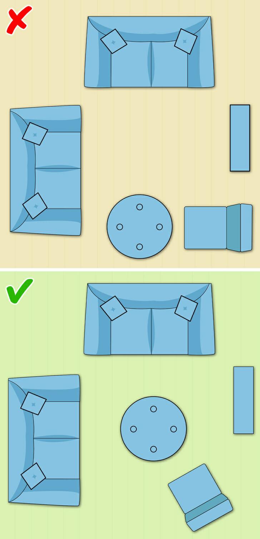 hình ảnh minh họa cho việc đặt bàn cà phê đúng, sai trong phòng khách nhỏ