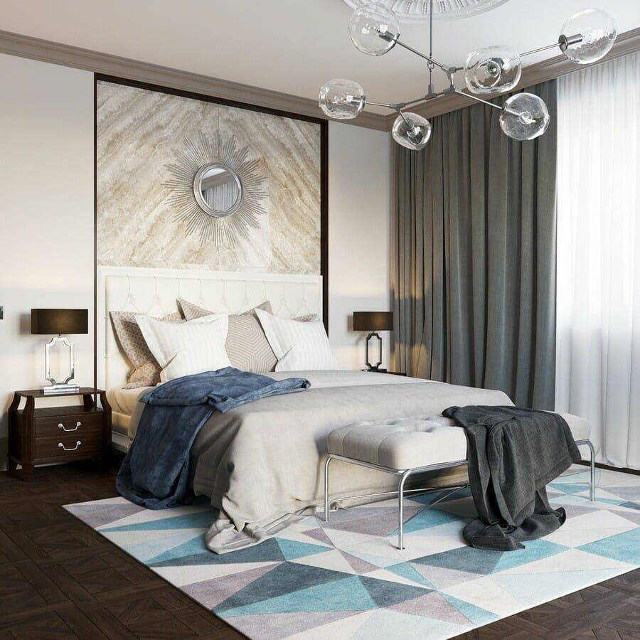 hình ảnh thảm trải sàn họa tiết hình học trong phòng ngủ