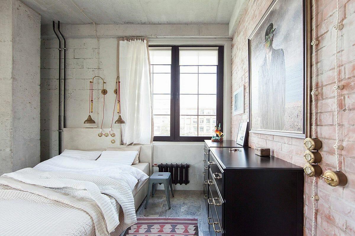 hình ảnh phòng ngủ nhỏ phong cách công nghiệp ấn tượng