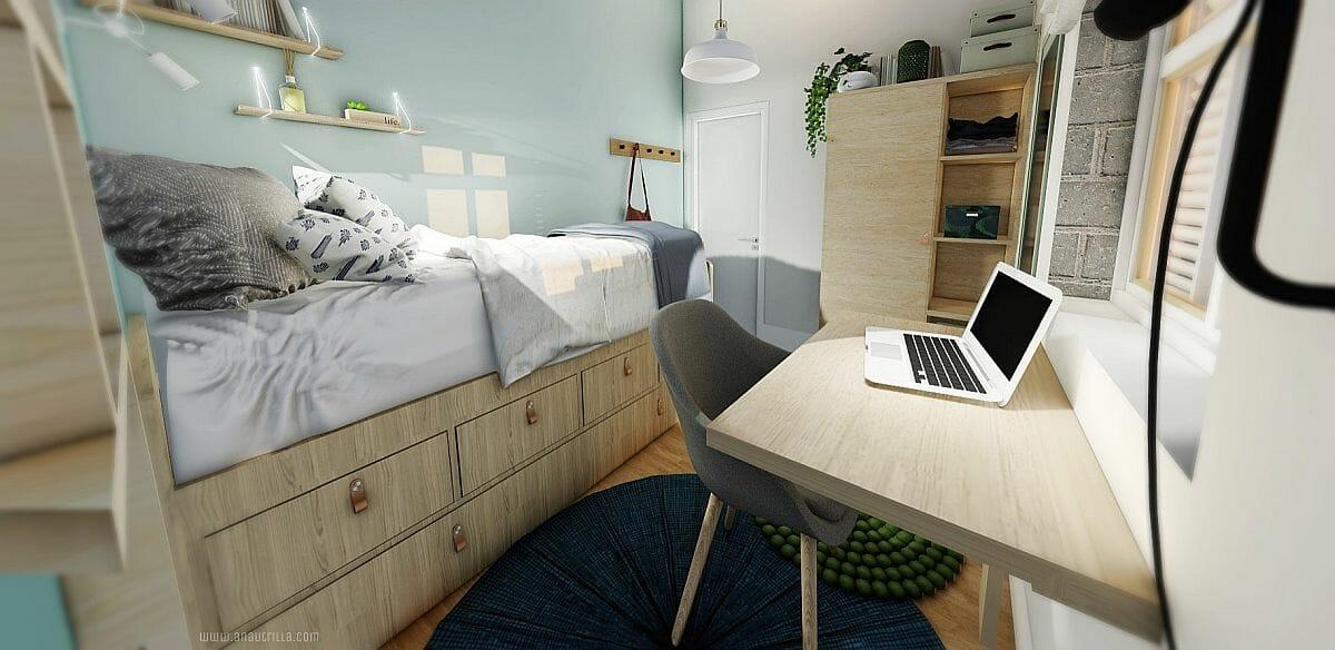 hình ảnh phòng ngủ nhỏ sử dụng giường thông minh tích hợp ngăn kéo lưu trữ