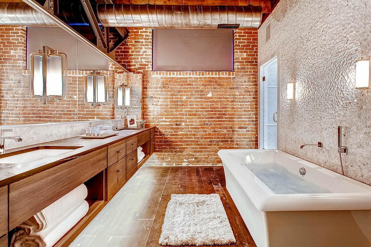 hình ảnh phòng tắm phong cách công nghiệp hiện đại với tường gạch trần