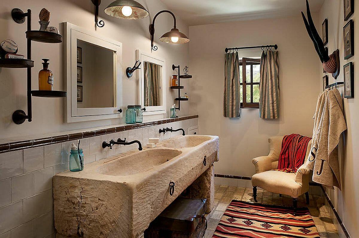 hình ảnh phòng tắm độc đáo với bòn rửa đôi lạ mắt, đèn tường bắt mắt