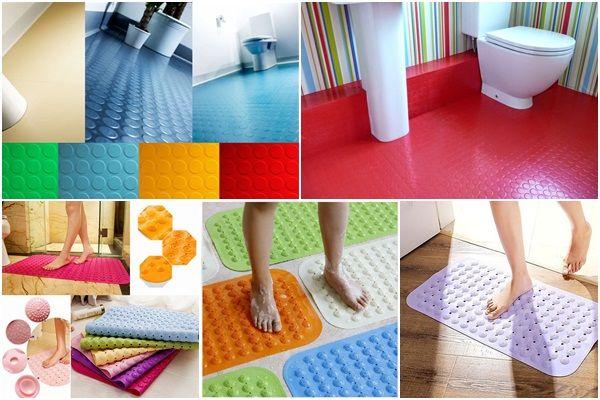 hình ảnh các mẫu thảm cao su chống trơn trượt nhà tắm đa dạng về màu sắc, kiểu dáng