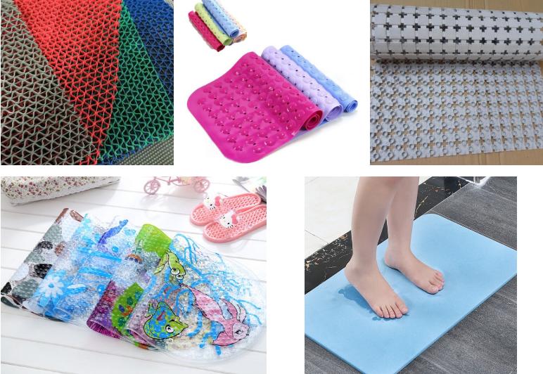 hình ảnh các loại thảm trải sàn chống trơn trượt nhà tắm màu sắc nổi bật