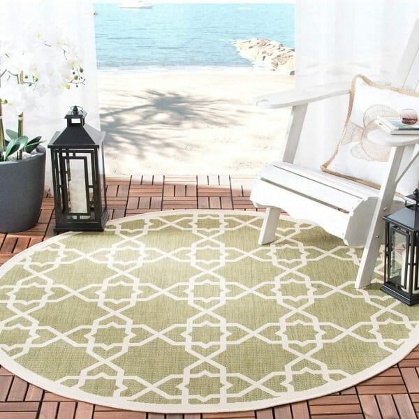 hình ảnh cận cảnh mẫu thảm trải tròn màu xanh lá nhạt
