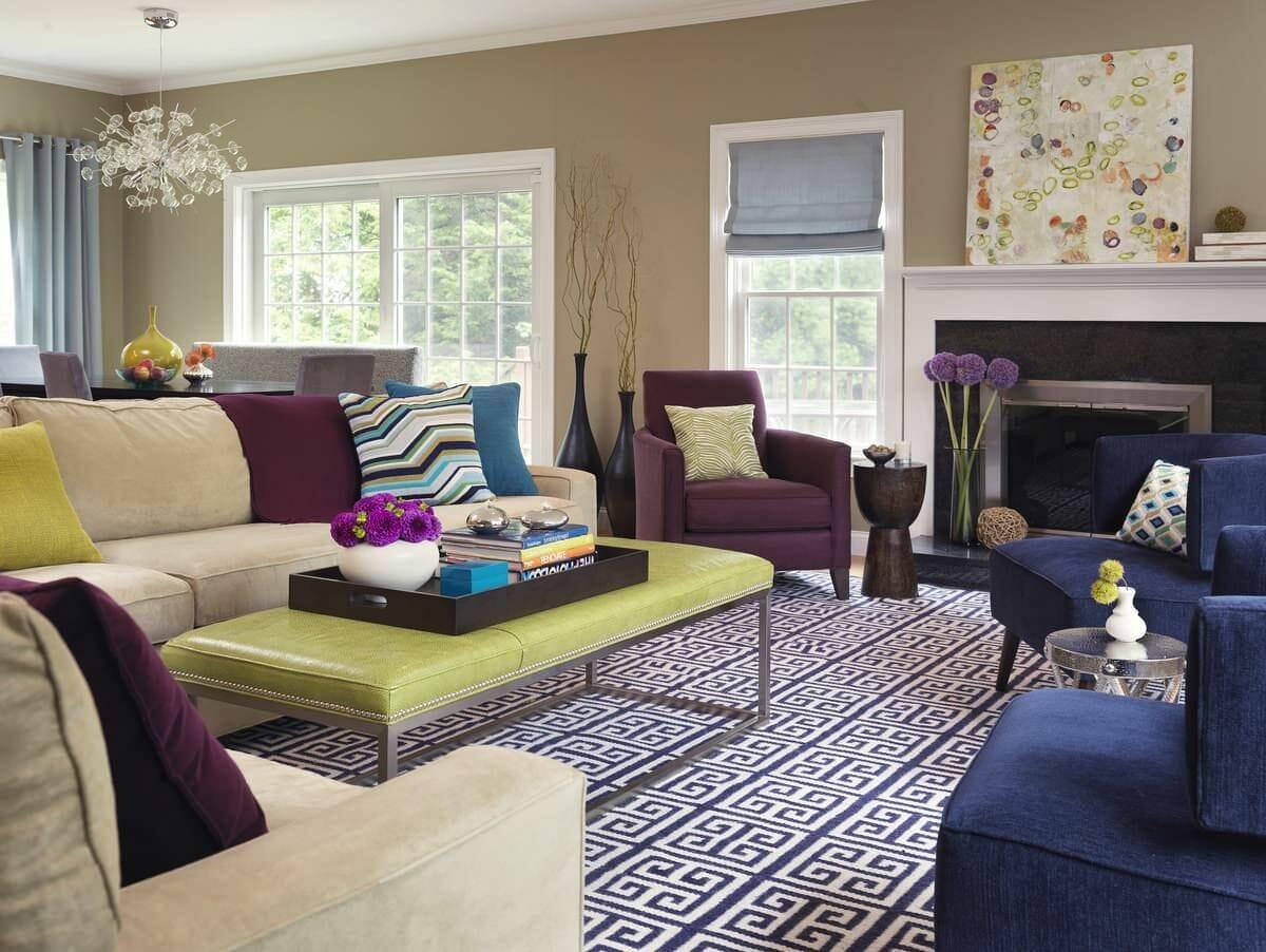 hình ảnh mẫu phòng khách phong cách chiết trung với tường sơn màu xám - be, nôi thất màu sắc nổi bật
