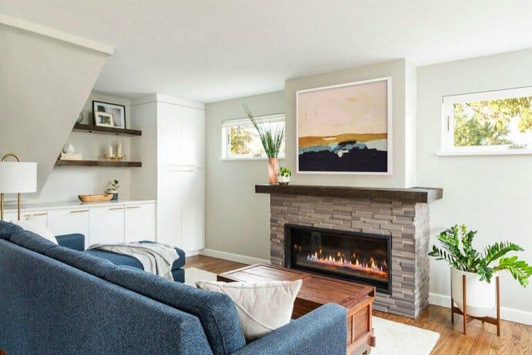 hình ảnh một góc phòng khách hiện đại có lò sưởi