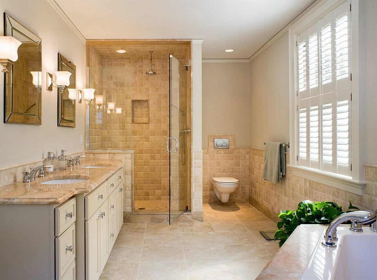 hình ảnh phòng tắm sử dụng gạch ốp màu be sáng