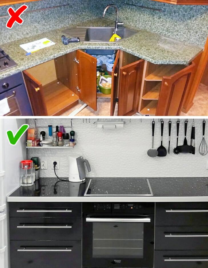 hình ảnh cận cảnh bề mặt bàn bếp ốp đá graniet màu xám và đen bóng