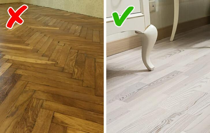 hình ảnh lựa chọn sàn gỗ xương cá và sàn gỗ cổ điển màu sáng