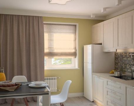hình ảnh phòng bếp ăn tích hợp, cửa sổ kính thoáng sáng