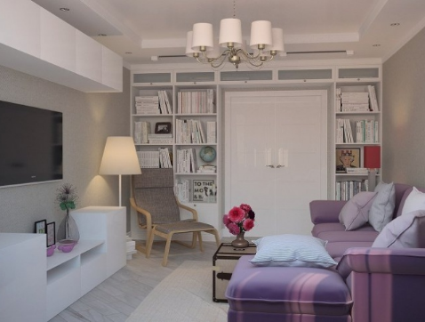 hình ảnh phòng khách nhỏ hiện đại với sofa màu tím, tủ kệ tivi gọn đẹp, giá sách cao kịch trần