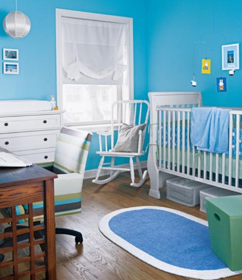 hình ảnh mẫu phòng ngủ màu xanh da trời dành cho bé