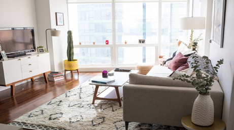 hình ảnh phòng khách nhỏ phong cách Bắc Âu với sofa ghi xám, bàn trà chữ nhật thấp sàn, đối diện là tủ tivi ngăn kéo màu trắng, cạnh đó là chậu cây xương rồng màu vàng