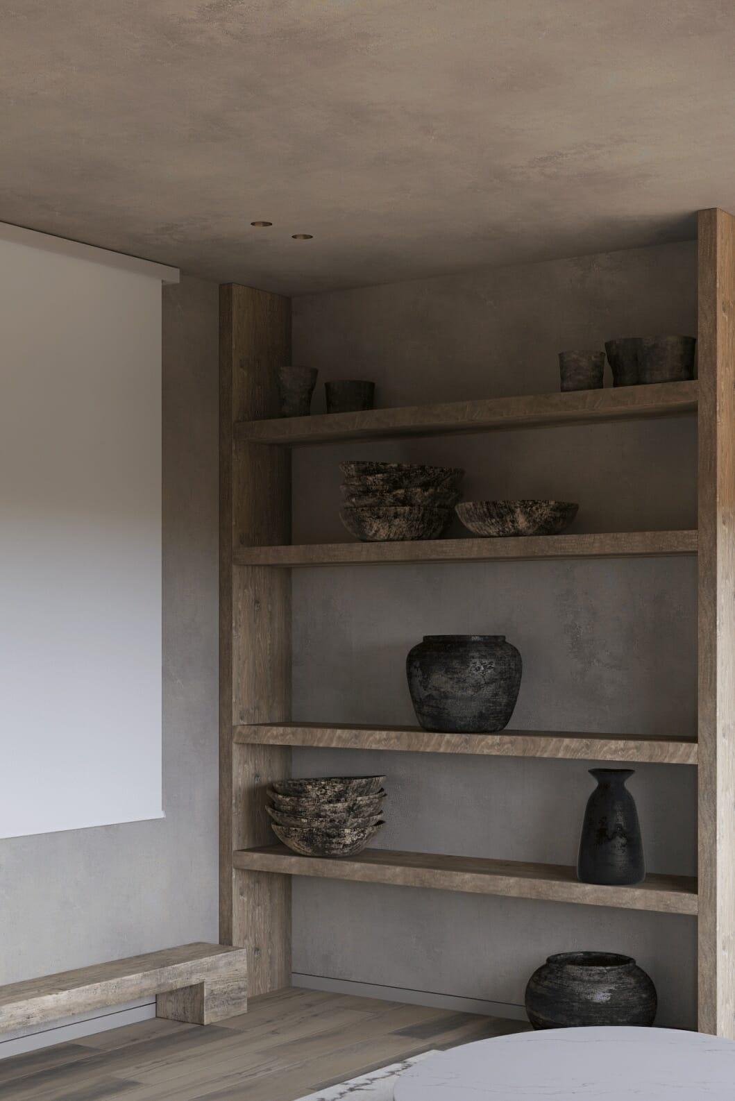 hình ảnh cận cảnh kệ gỗ gắn tường bày đồ trang trí