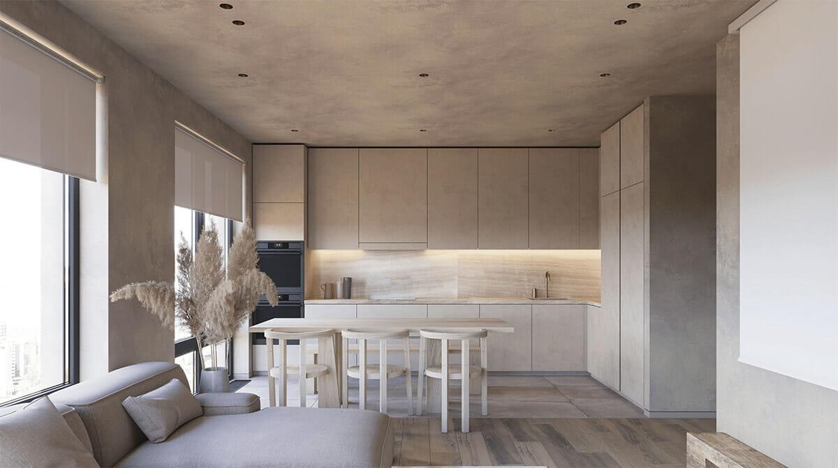 hình ảnh toàn cảnh phòng bếp màu xám cùng tông với tường và trần căn hộ