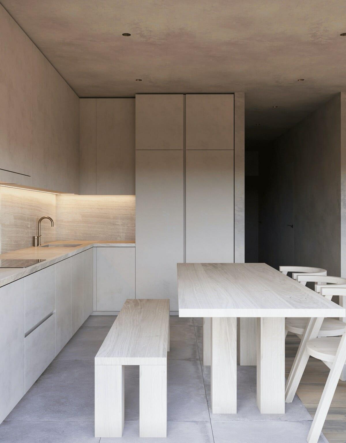 hình ảnh cận cảnh bàn ghế ăn bằng gỗ màu trắng sáng