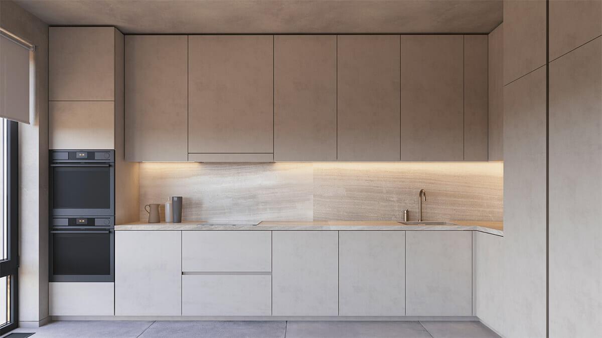 hình ảnh phòng bếp tông màu trung tính với tủ cùng tông xám với trần và tường, gắn đèn LED ánh sáng vàng