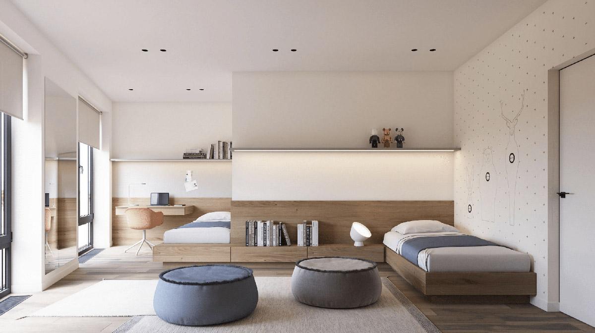 hình ảnh tòan cảnh phòng ngủ của trẻ với giường bố trí sole, thảm trài màu be, ghế lười êm ái