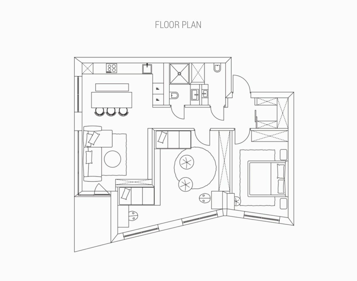hình ảnh bản vẽ thiết kế mặt bằng nội thất căn hộ