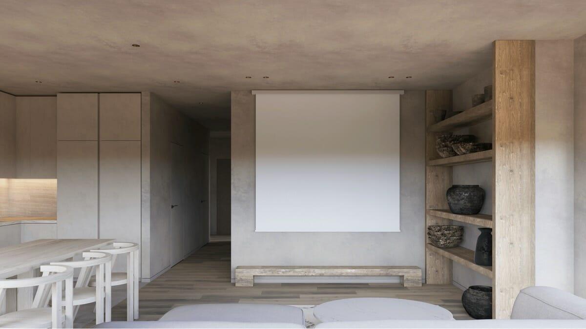 hình ảnh đối diện sofa là màn hình chiếu