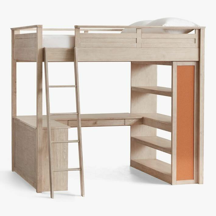 hình ảnh mẫu giường gác xép bằng gỗ dán màu ghi trắng