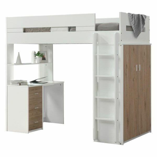 hình ảnh giường gác xép bằng gỗ sồi màu trắng tích hợp tủ quần áo và bàn làm việc