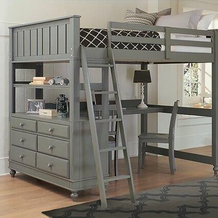 hình ảnh giường gác xép màu xám đá