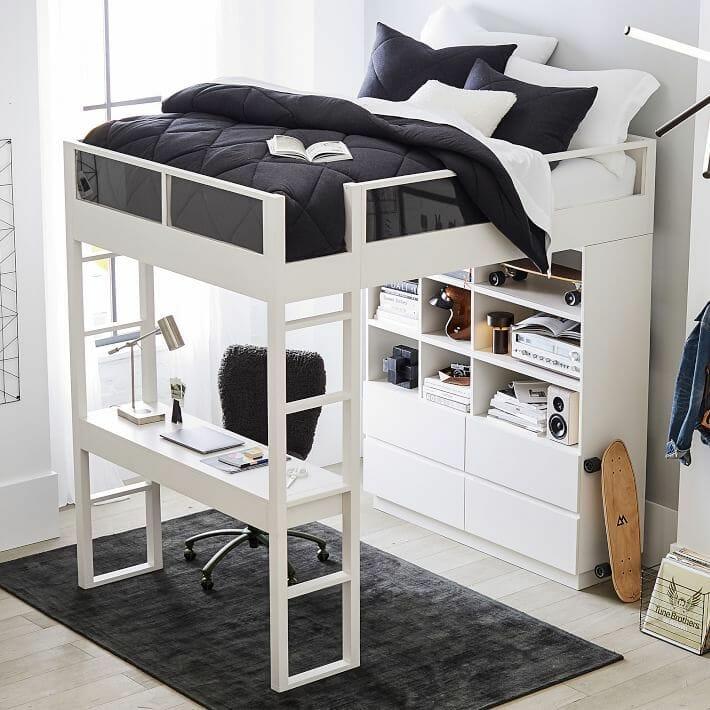 mẫu giường gác xép màu trắng, dưới là bàn làm việc, tủ kệ nhiều ngăn