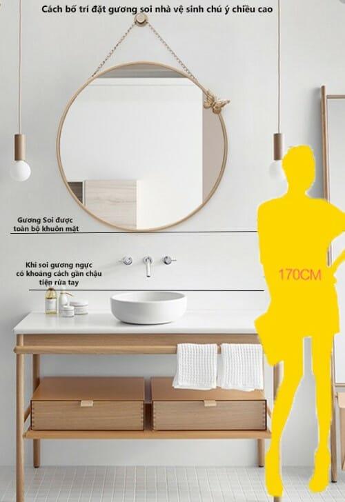 hình ảnh minh họa cho kích thước gương phòng tắm phù hợp