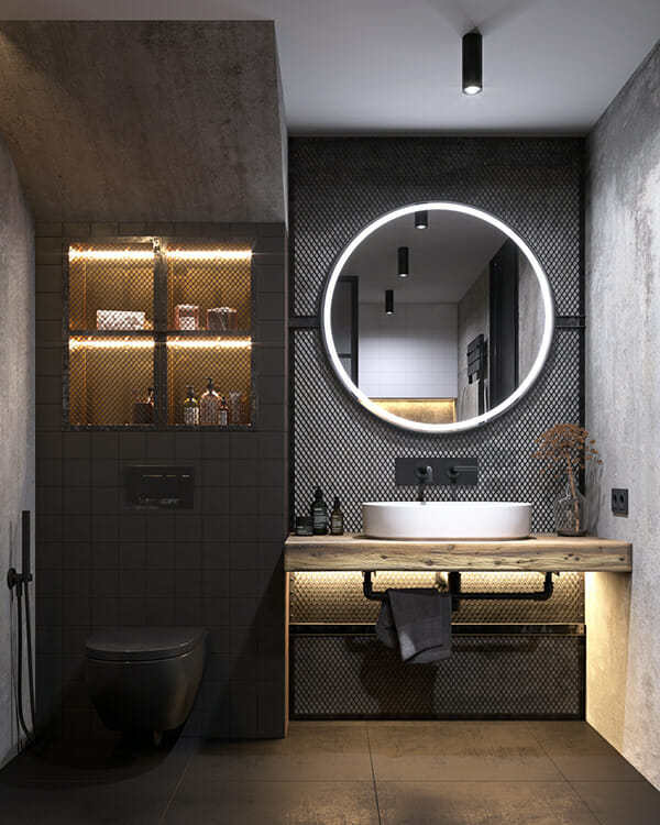 hình ảnh góc phòng tắm ấn tượng với gương đèn LED hình tròn hút mắt