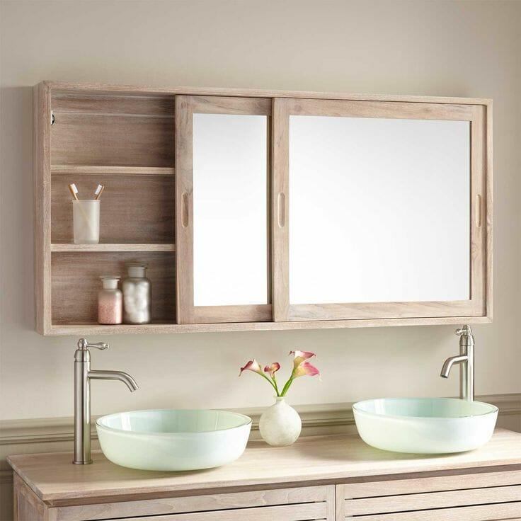 hình ảnh cận cảnh mẫu gương phòng tắm liền tủ với đơn giản, chất liệu gỗ mộc mạc