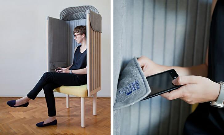 hình ảnh một cô gái đang ngồi trên ghế chặn tín hiệu di động và wi-fi