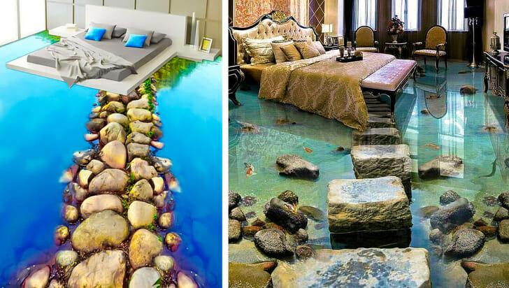 hình ảnh tấm trải sàn 3D hình mặt nước trong xanh trong phòng ngủ