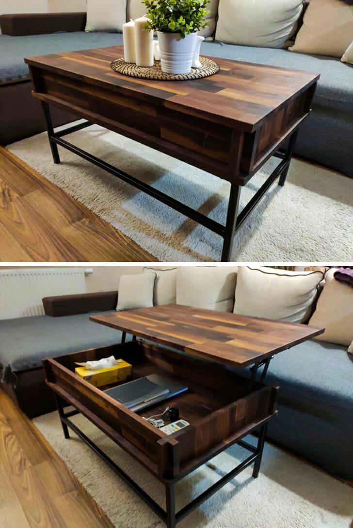hình ảnh cận cảnh mẫu bàn cà phê gỗ tích hợp hộc lưu trữ
