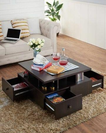 hình ảnh mẫu bàn cà phê bằng gỗ sẫm màu tích hợp 4 ngăn kéo lưu trữ