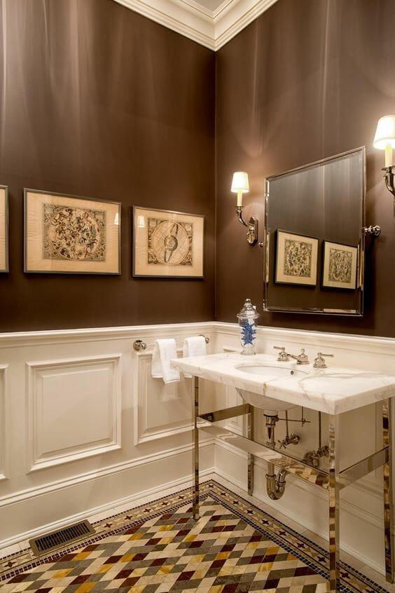 hình ảnh phòng tắm phong cách cổ điển màu nâu