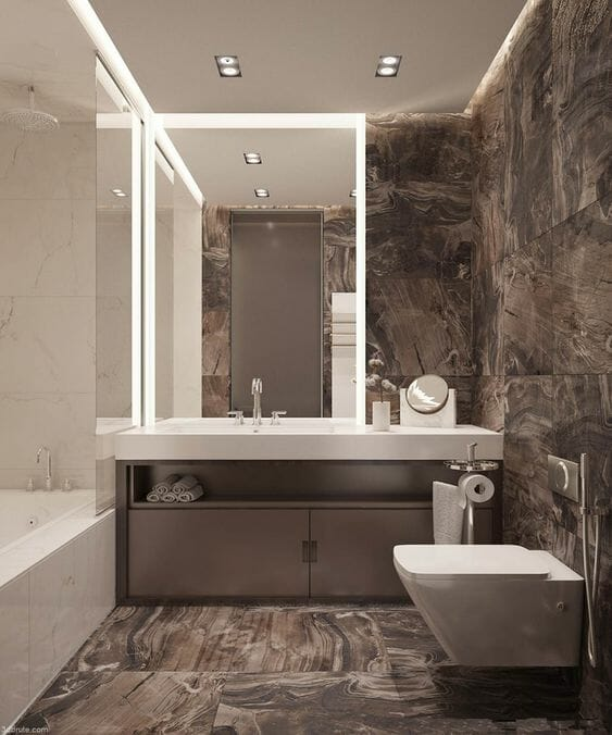 hình ảnh phòng tắm tối giản với gạch ốp lát màu nâu tinh tế