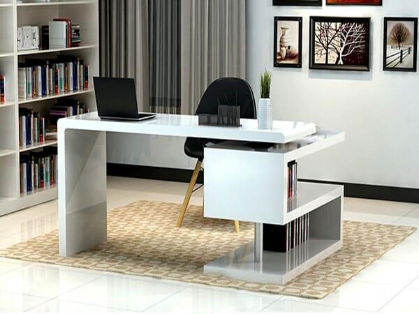 Gia chủ mệnh Kim thích hợp với những chiếc bàn làm việc màu trắng